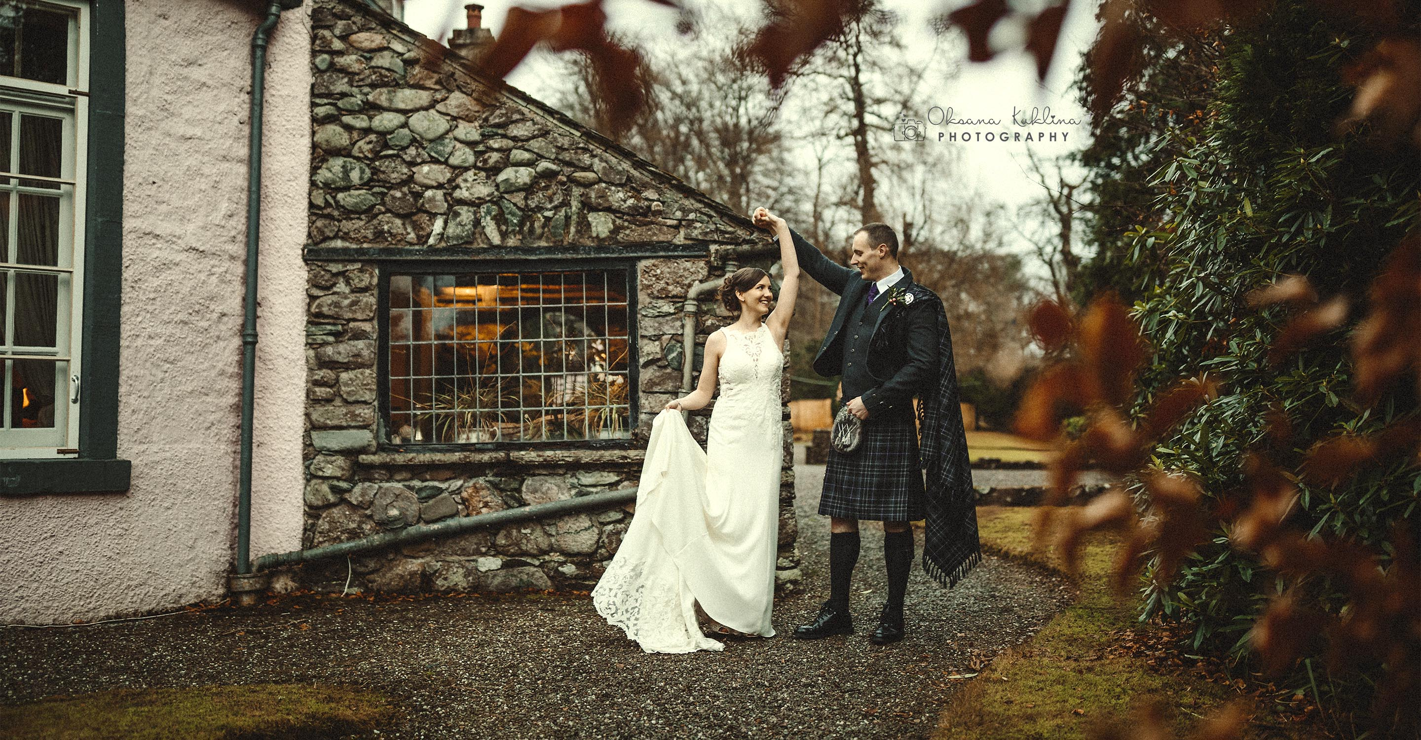 Roman Camp wedding photographer - Scottish romantic wedding in Callander -  Scotland winter wedding